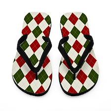 Christmas argyle pattern Flip Flops