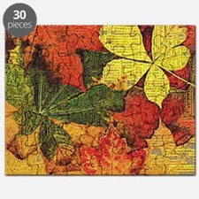 Textured Autumn Leaves Puzzle
