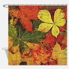 Textured Autumn Leaves Shower Curtain