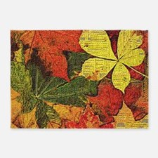 Textured Autumn Leaves 5'x7'Area Rug