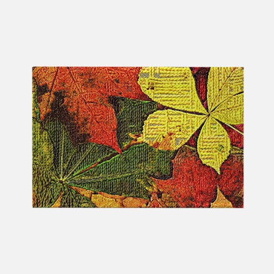 Textured Autumn Leaves Magnets