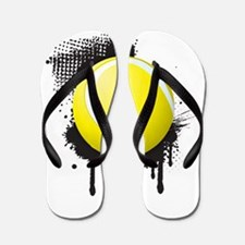 Abstract Black Ink Splotch with TENNIS Flip Flops