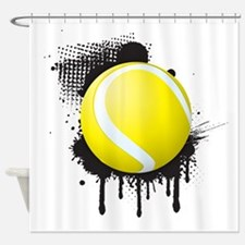 Abstract Black Ink Splotch with TEN Shower Curtain