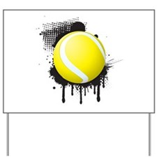 Abstract Black Ink Splotch with TENNIS B Yard Sign