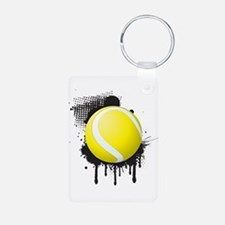 Abstract Black Ink Splotch with TENNIS B Keychains