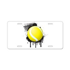 Abstract Black Ink Splotch Aluminum License Plate