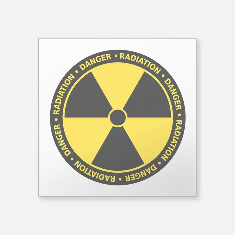"Cute Radiation Square Sticker 3"" x 3"""
