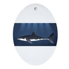 Danger Shark Below Oval Ornament