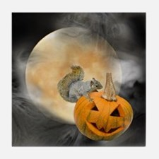 Squirrel Pumpkin Moon Tile Coaster