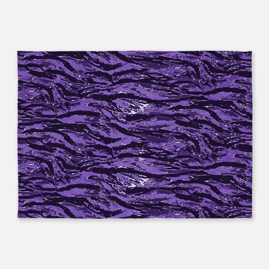 Purple Striped Camo 5'x7'Area Rug