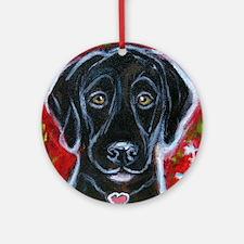 Cute Black lab Round Ornament