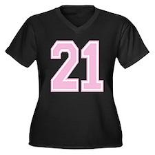 21 Women's Plus Size V-Neck Dark T-Shirt