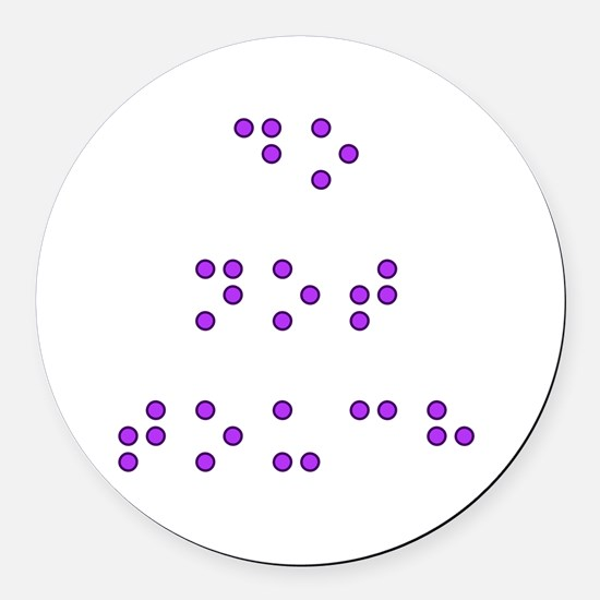 Do Not Touch in Braille (Purple) Round Car Magnet