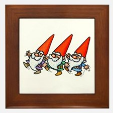 THREE GNOMES DANCING Framed Tile