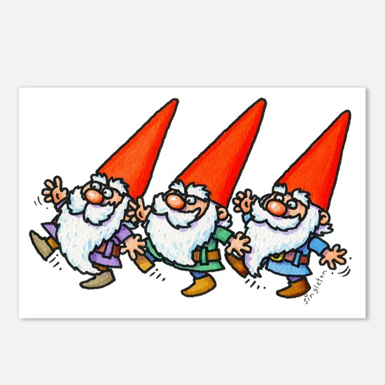 THREE GNOMES DANCING Postcards (Package of 8)