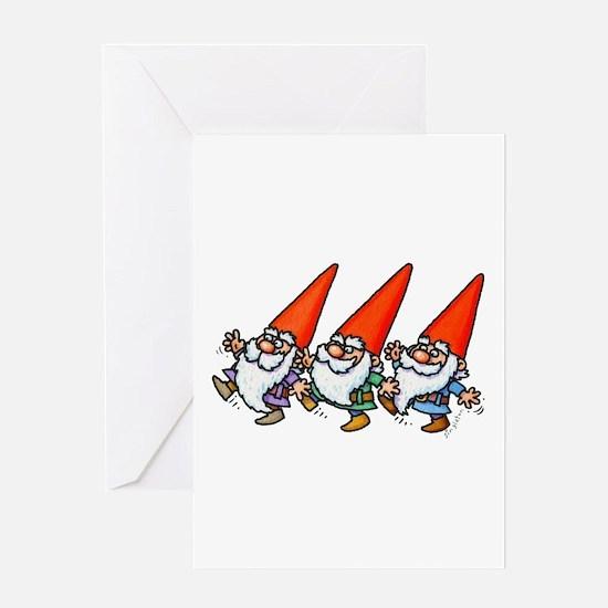 THREE GNOMES DANCING Greeting Cards