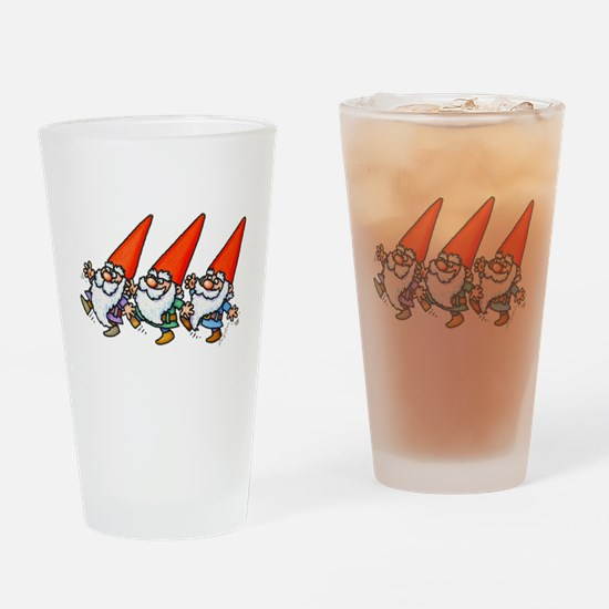 THREE GNOMES DANCING Drinking Glass