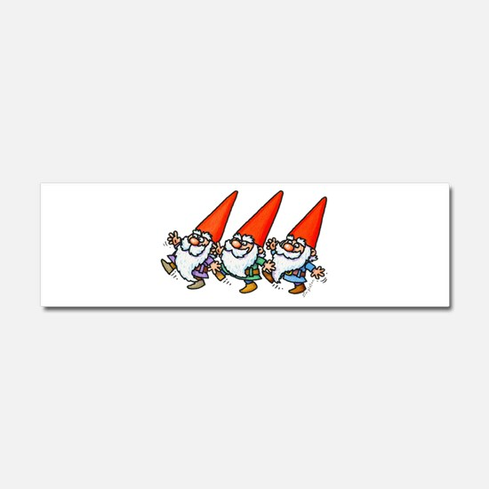 THREE GNOMES DANCING Car Magnet 10 x 3