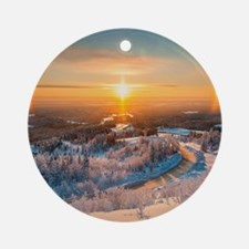 Winter Sunset In The Mountains Round Ornament
