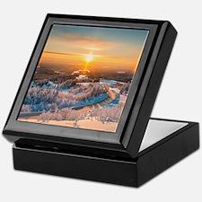 Winter Sunset In The Mountains Keepsake Box