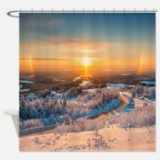 Winter Sunset In The Mountains Shower Curtain