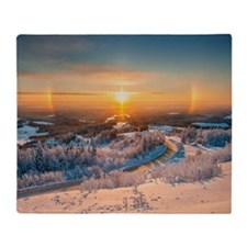 Winter Sunset In The Mountains Throw Blanket
