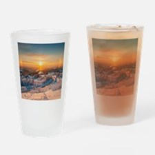 Winter Sunset In The Mountains Drinking Glass