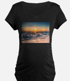 Winter Sunset In The Mountains Maternity T-Shirt
