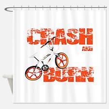 Crash & Burn Retro BMX T-shirt. Shower Curtain