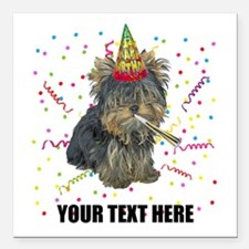 "Custom Yorkie Birthday Square Car Magnet 3"" x 3"""