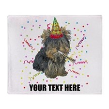 Custom Yorkie Birthday Throw Blanket