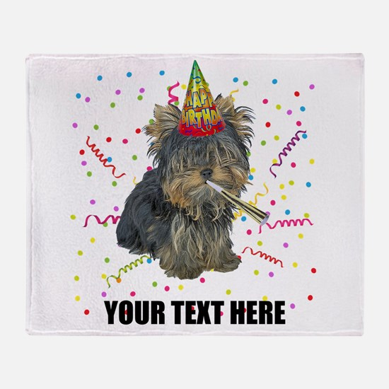 Custom Yorkie Birthday Throw Blanket