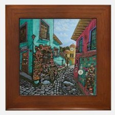 Colorful Mexican Stone Street Framed Art Tile