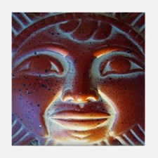 Sun God Face Mexican Idol Art Tile Coaster