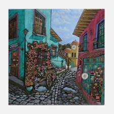 Stone Paved Street Mexican Art Tile Coaster