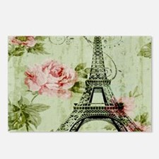 floral vintage paris eiff Postcards (Package of 8)