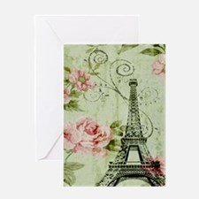 floral vintage paris eiffel tower Greeting Cards