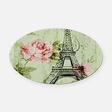 floral vintage paris eiffel tower Oval Car Magnet