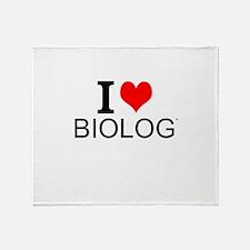 I Love Biology Throw Blanket