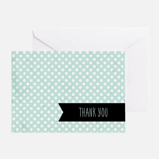Blue Polka Dots Thank You Greeting Cards