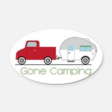 Gone Camping Oval Car Magnet