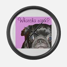 Whatcha Eatin Black Pug Large Wall Clock