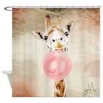 Giraffe Bubblegum Shower Curtain