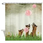 Funny Camels With Bubblegum Shower Curtain