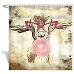 Geeky Bubblegum Goat Shower Curtain