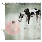Great Dane And Pug Bubblegum Shower Curtain