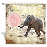 Bubblegum Baby Elephant Shower Curtain