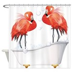 Bubble Bath Flamingos Shower Curtain