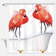 Bubble Bath Flamingos Shower Curtain