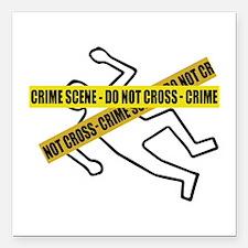 """Crime Scene Tape Square Car Magnet 3"""" x 3"""""""